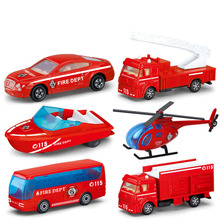 Children's Alloy Fire Model Line Fire Truck Series Mini Ladder Water Cannon Model Die-casting Birthday Gift Toy Set