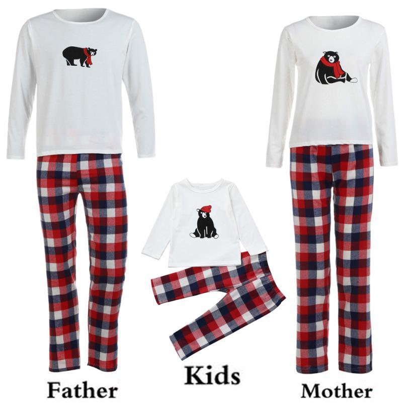 2017 Women Long Sleeve Bear T shirt Tops Plaid Pants Pajamas Christmas Family Clothes Set Holiday Sets oct10 m30
