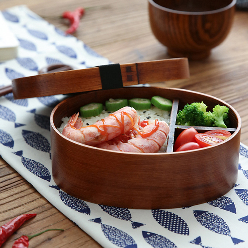 Japanese Bento Sushi Box Eco-friendly Wooden Bento Lunch Boxes Food Container with 3 Compartments Small Portable Oval Lunchbox for Kids Picnic Tableware (5)