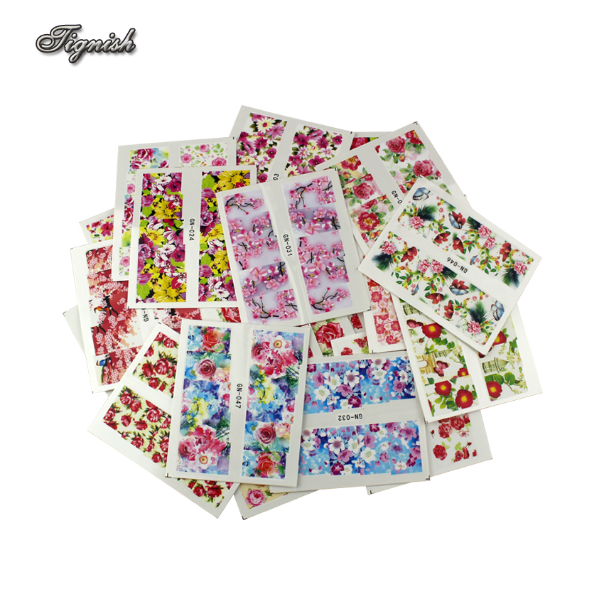 Tignish 48 Sheets/Lot Mixed Flower Water Transfer Nail Stickers Decals Art Tips Decoration Manicure Stickers Ongles DIY Tools fwc hot diy designs nail art beauty flower water stickers nails decoration decals tools