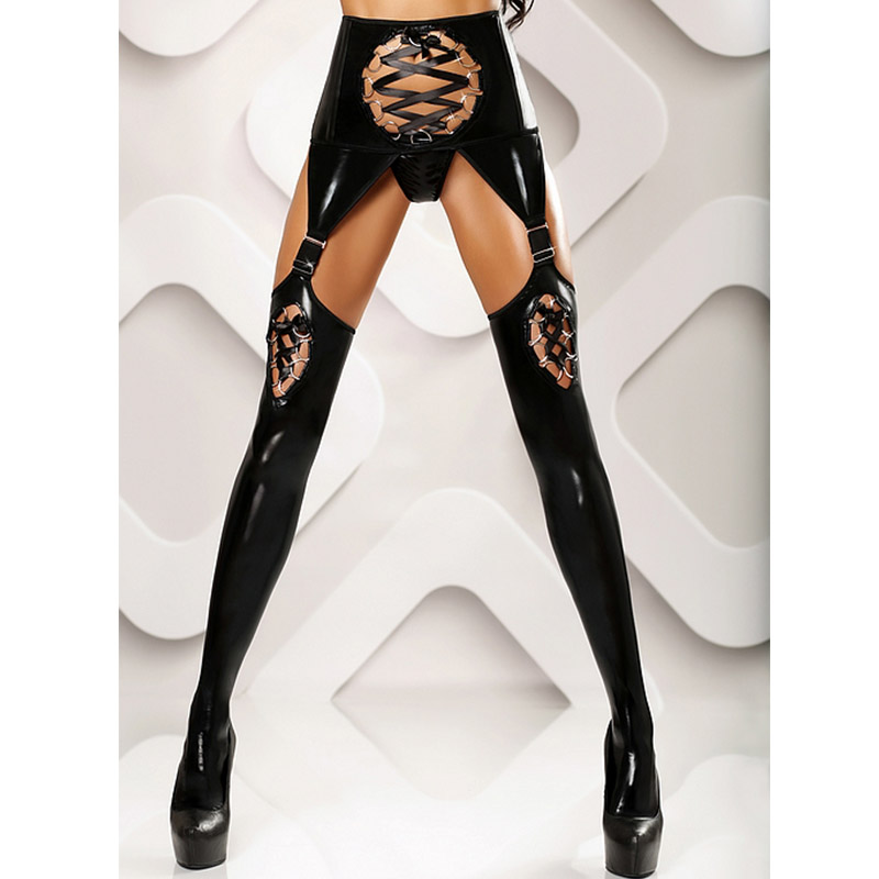 S-XL Sexy Women Thigh High Stockings Female Erotic Lace Up Wetlook Black Leather Stockings Vinyl Latex Gothic Tights Stockings