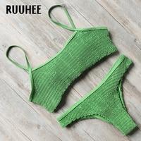 RUUHEE Brand Bikini Swimwear Women Swimsuit 2017 Bikini Set Ruffle Bathing Suit Beachwear Push Up Maillot