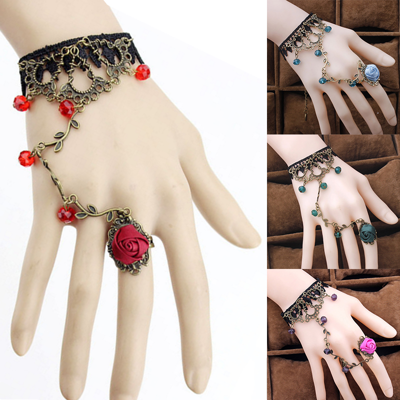 LNRRABC 1PC New Sale Retro Gothic Women Bracelet Lace Flower Hand Slave Chain Temperament Gift