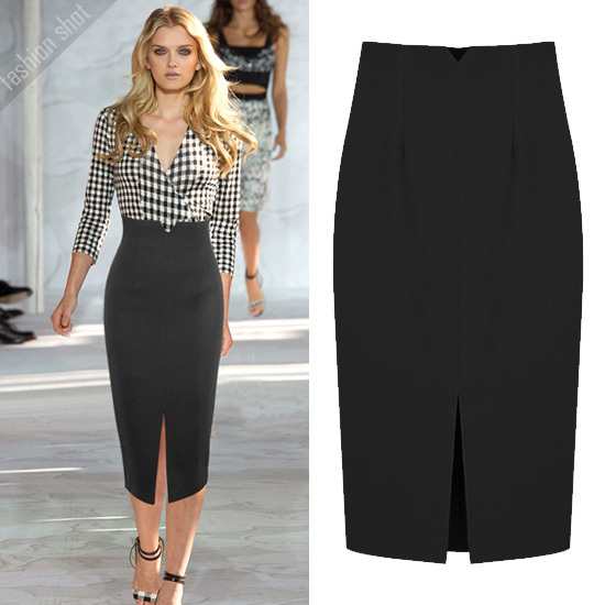 Women Plus Size XXS 6XL 8XL Black blue green red Pencil Skirt Ladies High Waist Bodycon Slit Black Office Work Sexy Midi Skirts image