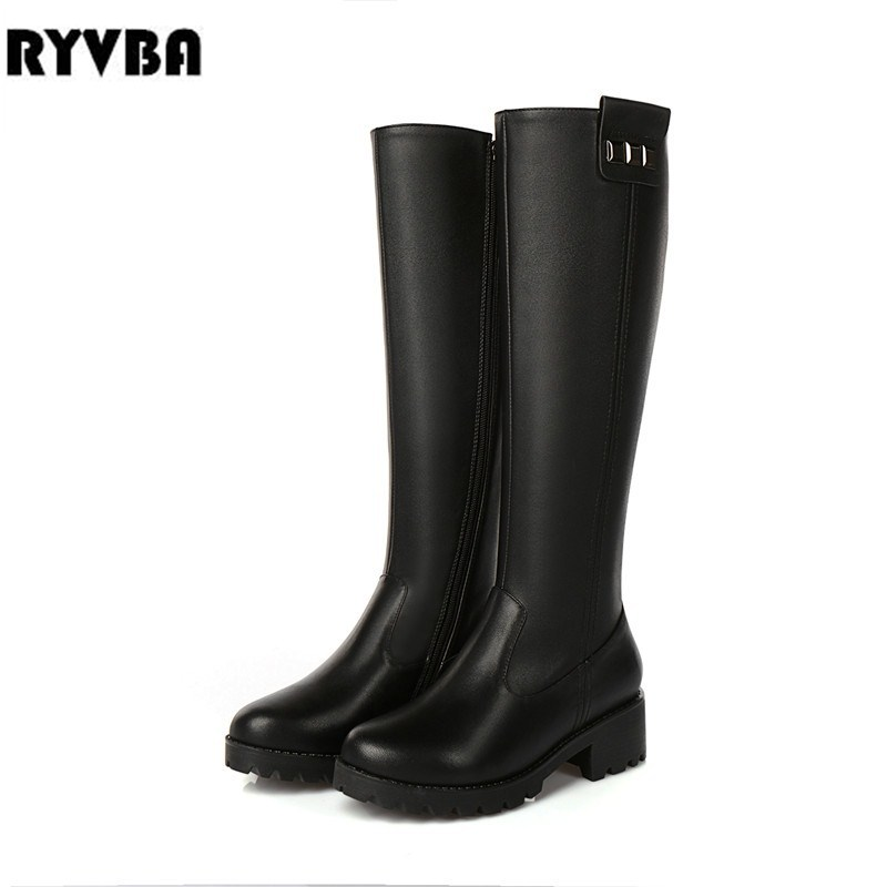 RYVBA women genuine leather thigh high boots womens winter autumn knee high boots 2018 black buckle square heels woman shoes ryvba woman knee high snow boots fashion thick plush warm thigh high boots winter boots for women shoes womens female sexy flats