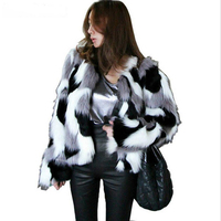 Plus Size S 6XL Women Mixed Color Faux Fur Coat Fluffy Winter Casual Fur Jacket Elegant Shaggy Ladies Short Outwear Coats 2019