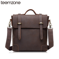 New Design Crazy Horse Leather Men Shoulder Bags Men's Casual Cusiness Messenger Bag Vintage Crossbody iPad Laptop Briefcase