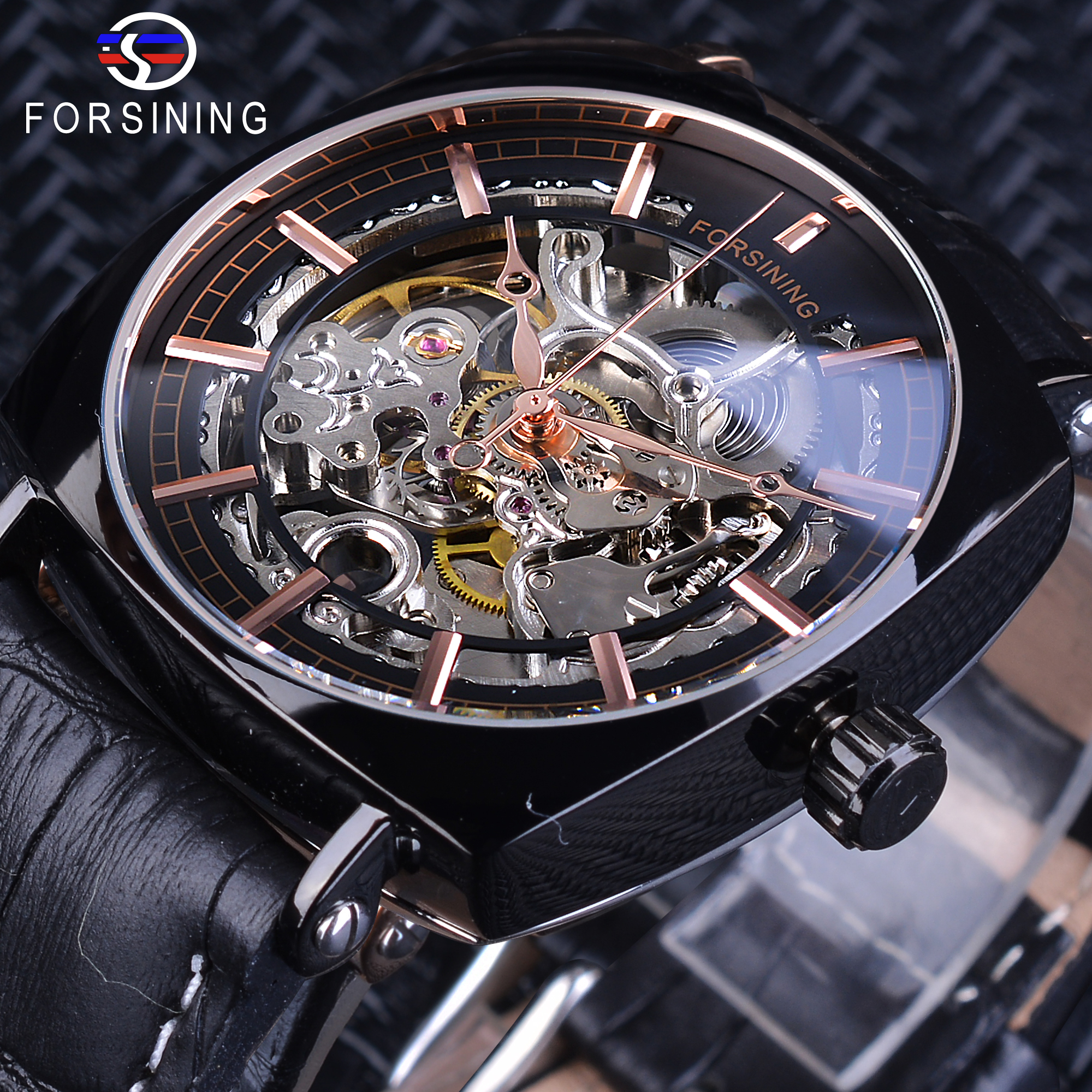 Forsining Rose Golden Square Mechanical Watches Men Automatic Clock Transparent Movement Black Genuine Leather Belt Reloj Hombre