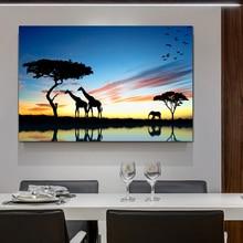 Boom Afrikaanse Olifant Giraffe Zonsonderganglandschap Schilderij Canvas Animal Art Muur Foto Kunstwerk voor Woonkamer