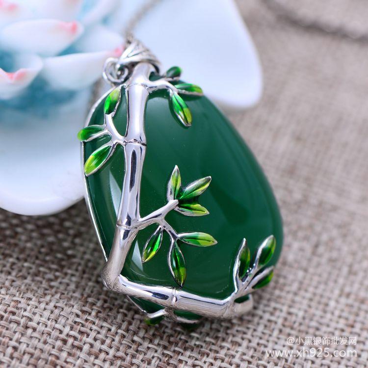 KJJEAXCMY jemné šperky thajské stříbro 925 mincovní stříbro šperky vykládané bambus personalizované zelené chalcedony ženské modely přívěsek