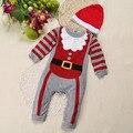 Ropa de la navidad del niño del bebé de los monos de manga larga infantil de dibujos animados regalo de navidad traje traje clothing set