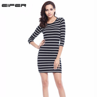 2016 New Spring Summer Women Round Neck Fashion Black And White Striped Long Sleeve Straight Plus
