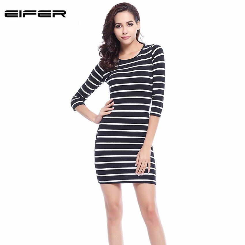 2018 új tavaszi nyári nők kerek nyak divat fekete-fehér csíkos hosszú ujjú egyenes plusz méretű alkalmi ruha