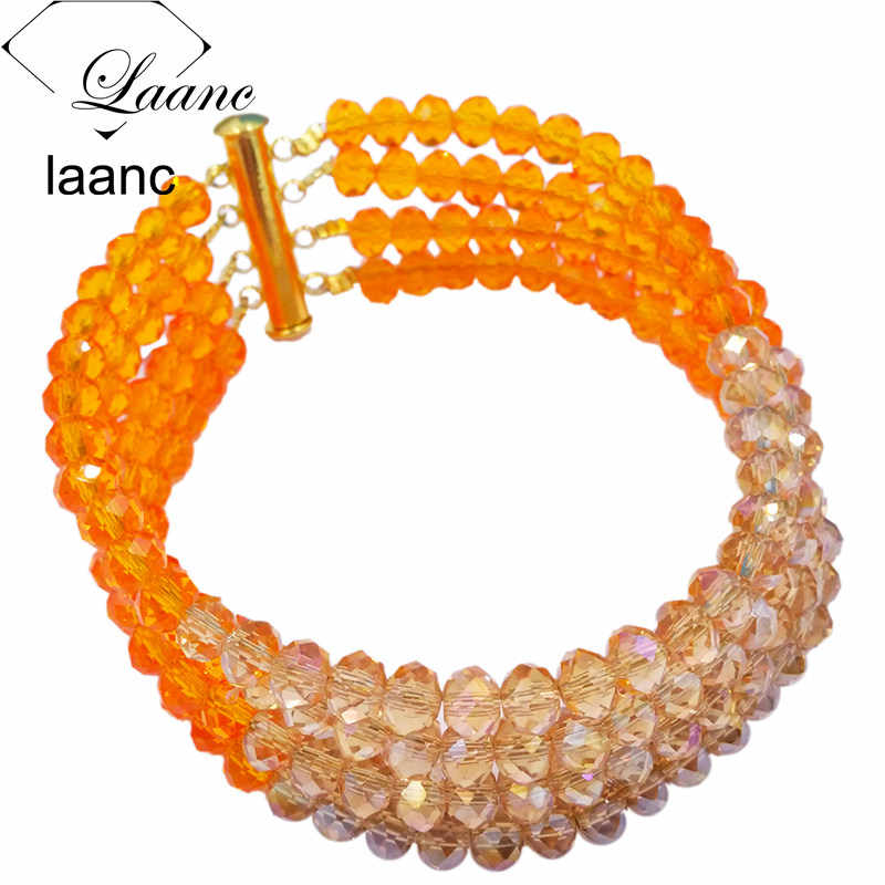 Laanc Latest Orange Gold AB Crystal African Bridal Jewelry Sets for Women Nigerian Wedding Necklace Earrings C6R4S031