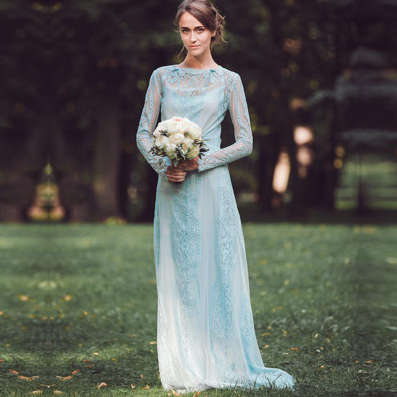 Light Blue Lace Evening Dress with Long Sleeves Long Wedding Guest ...