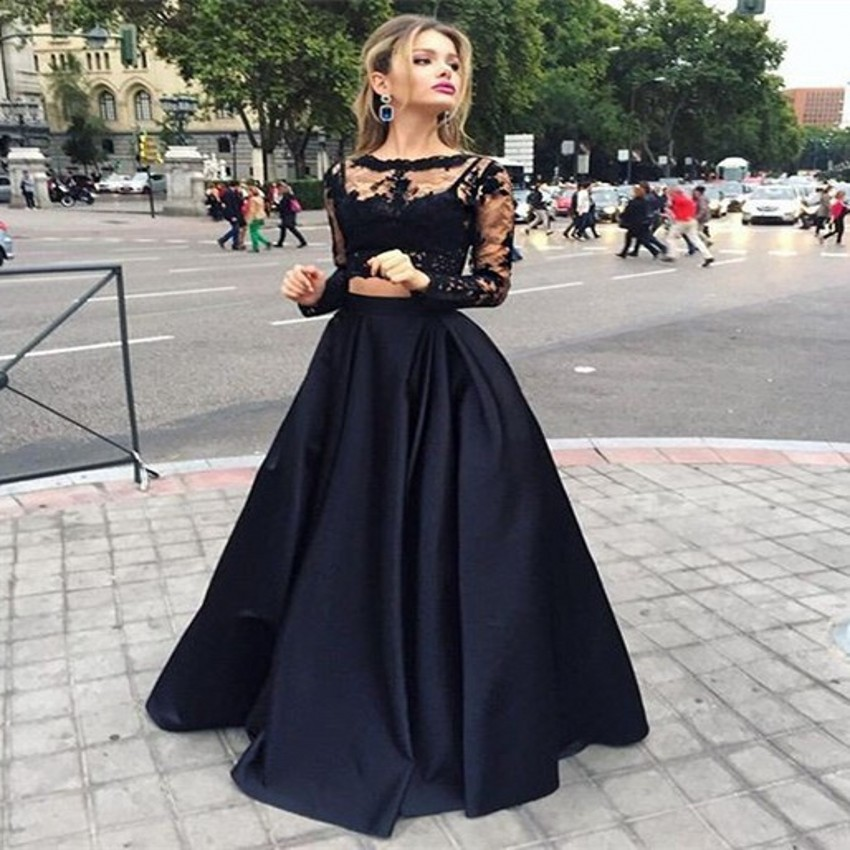 Fashion Black Two Pieces Set Prom Gown Long Sleeve Satin Floor Length Dress For Wedding Party Homecoming Custom Made