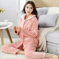 Fashion Women Sleep Set Solid Warm Long Sleeve Sleepwear Thick 2PCS Shirt&Pant Home Clothing Comfortable Pajamas Pyjamas Suit