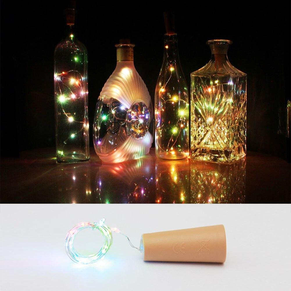 15 leds diy bottle cork string lights silver wire starry - String lights living room ...