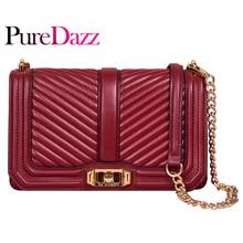 Puredazz Genuine Leather V-Lattice Women Shoulder Bag Famous Brand Pure Color Chain Flap Bag for Female with Cotton Lining color block flap chain bag