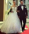 White Ball Gown Wedding Dresses 2017 Long Sleeve Scoop Sheer Back Romantic Lace Wedding Bridal Gowns 2016 Vestido de Noiva
