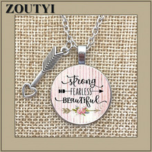 STRONG FEARLESS BEAUTIFUL Charm Alloy Pendant Glass Necklace, a gift for mom, strong woman, fearless charm, survivor.