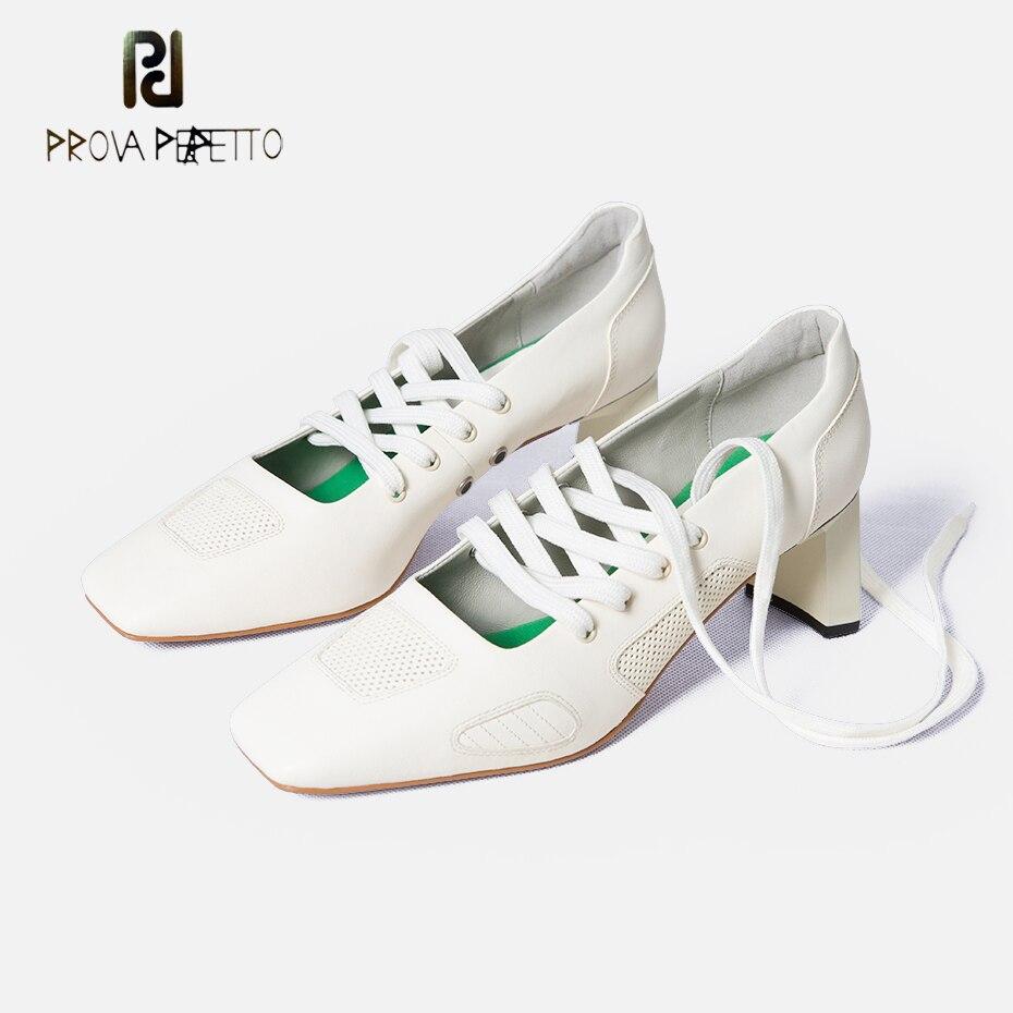 Prova Perfetto Новый Подиум стиль крест накрест туфли на высоком каблуке для женщин квадратный носок необычный каблук натуральная кожа дышащие женские туфли лодочки