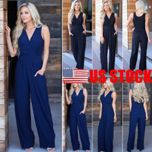 2018 New Summer Autumn Casual Loose Jumpsuit Romper V Neck Sleeveless Wide Leg O