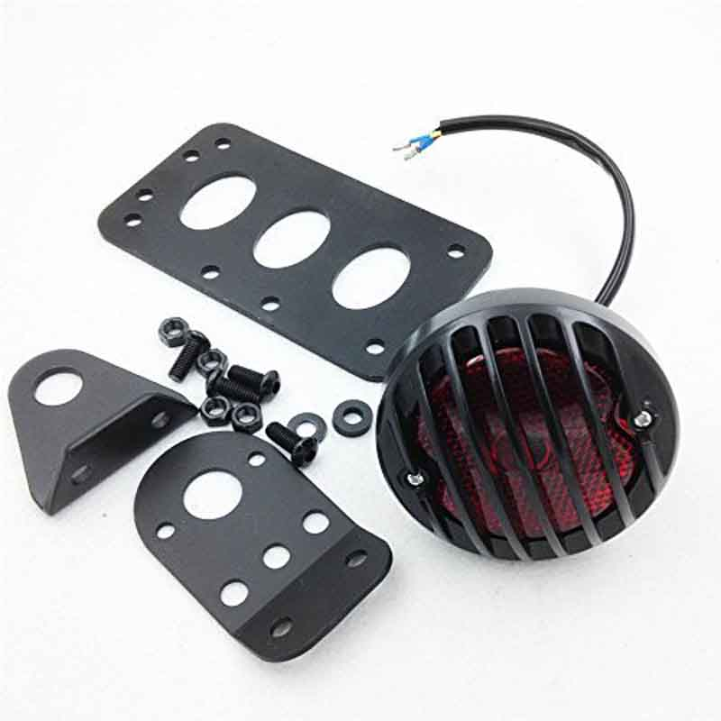 Grill Side Mount Motorcycle Tail Light License Plate Bracket For  Bobber Chopper Honda Yamaha Suzuki Kawasaki And Other Cu