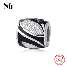 SG diy charms Sterling Silver 925 Beads with black enamel and CZ Fit Original pandora Bracelets jewelry making for women gifts sg new arrival 925 sterling silver charms dream catcher beads with cz fit pandora bracelets diy jewelry making for women gifts