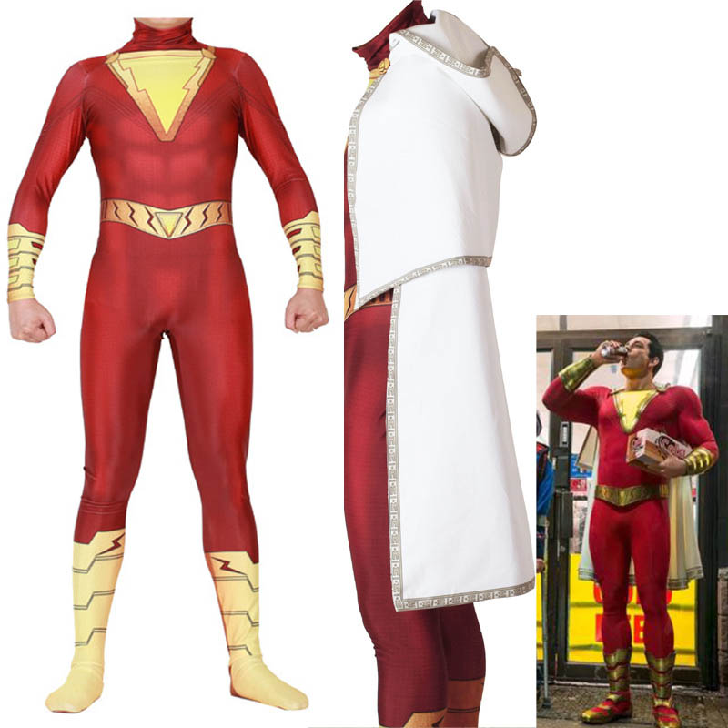 Movie Shazam! Avengers 4 Shazam Cosplay Costume Custom Made Superhero Shazam Billy Batson Costume Fancy Jumpsuit For Men Kids