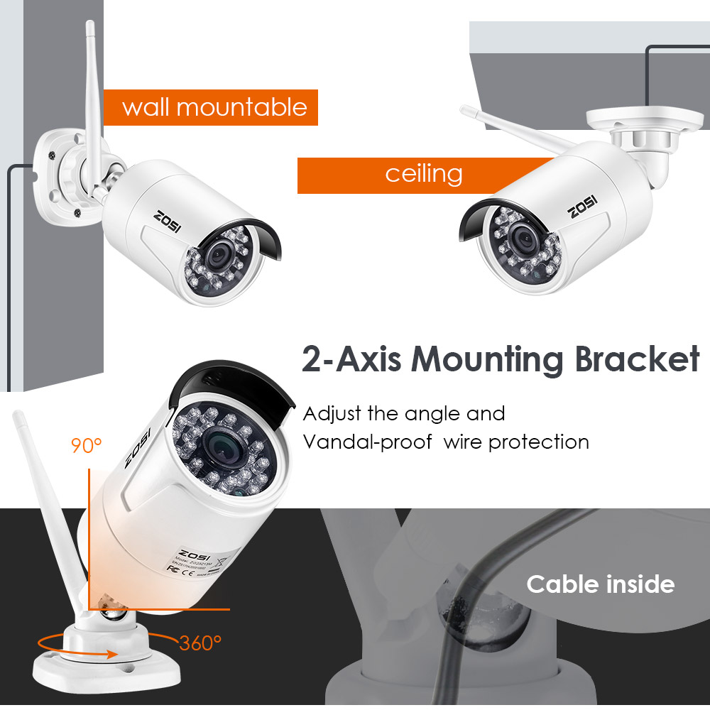 Image 3 - ZOSI 1080P Wireless CCTV System 2TB HDD 2MP 8CH Powerful NVR IP IR CUT Bullet CCTV Camera IP Security System Surveillance Kits-in Surveillance System from Security & Protection