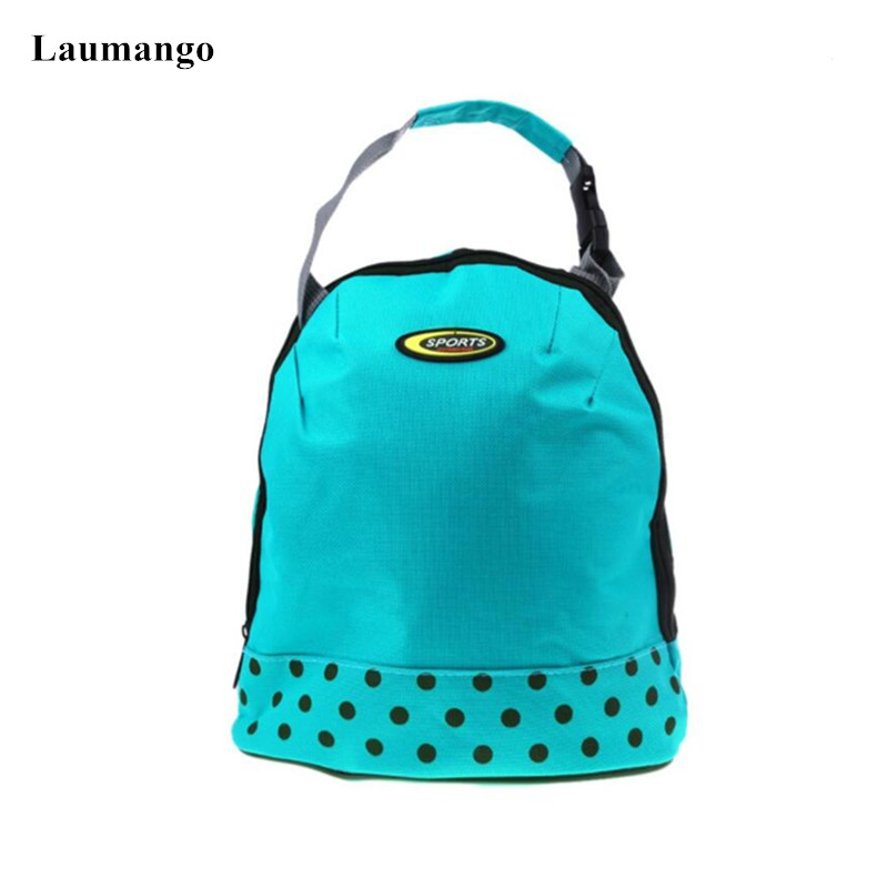 Laumango Blue color lunch bag for kids Thermal Cooler Insulated Picnic Bag for Food Warmer Keep Hand Lunch Pouch box marmita
