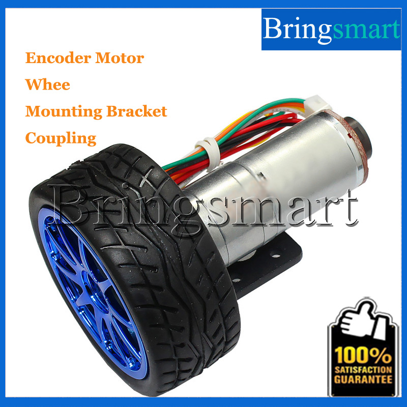 Bringsmart 12V DC Electric Gear Motor with Hall Encoder 12 Volt Engine 6v Gearbox with Wheel Tire Bracket Coupling for DIY Robot