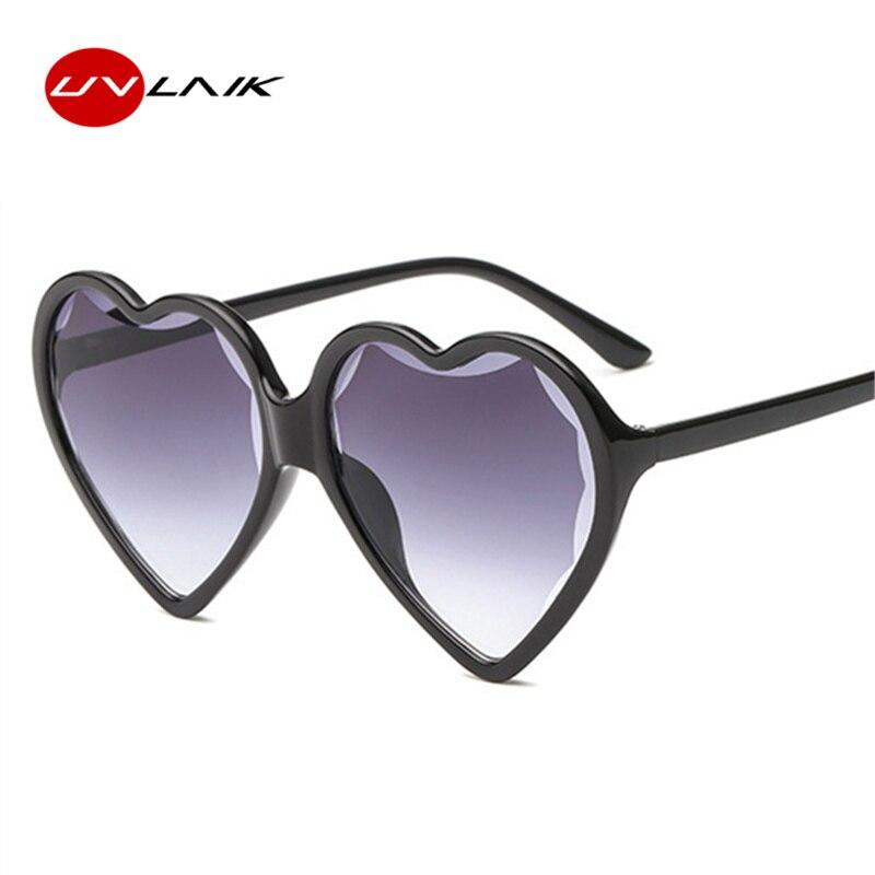 43f68d3a9e3a9 UVLAIK Amor Do Coração das Senhoras Vidros De Sol Mulheres 2018 Marca  Designer Óculos De Sol