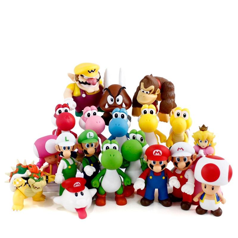 1 piece Super Mario Bros action figures Yoshi Luigi Mushroom girl doll figure toys gifts for Children