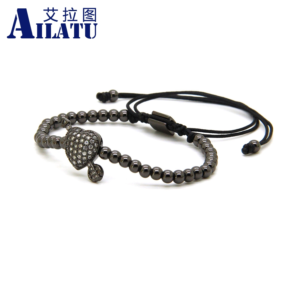 Image 3 - Ailatu CZ Arrow Through Love Heart Bracelet Clear Cz Beads and 