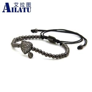 Image 3 - Ailatu CZ Arrow Through Love Heart Bracelet Clear Cz Beads and 4mm Stainless Steel Couple Wedding Jewelry