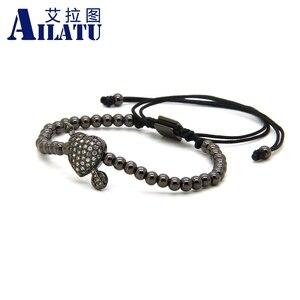 Image 3 - Ailatu cz seta através do amor coração pulseira clara cz contas e 4mm de aço inoxidável casal jóias casamento