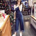 Denim Rompers Womens Jumpsuit Jeans Overalls Elegant Vintage Blue Tassel Denim Overalls Women Slim Elegant Sexy Jumpsuit 2016