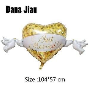 DanaJiau NEW yellow heart dove loving wedding Aluminum Foil Balloons Valentine's Day diamond ring ball Party Decorations(China)