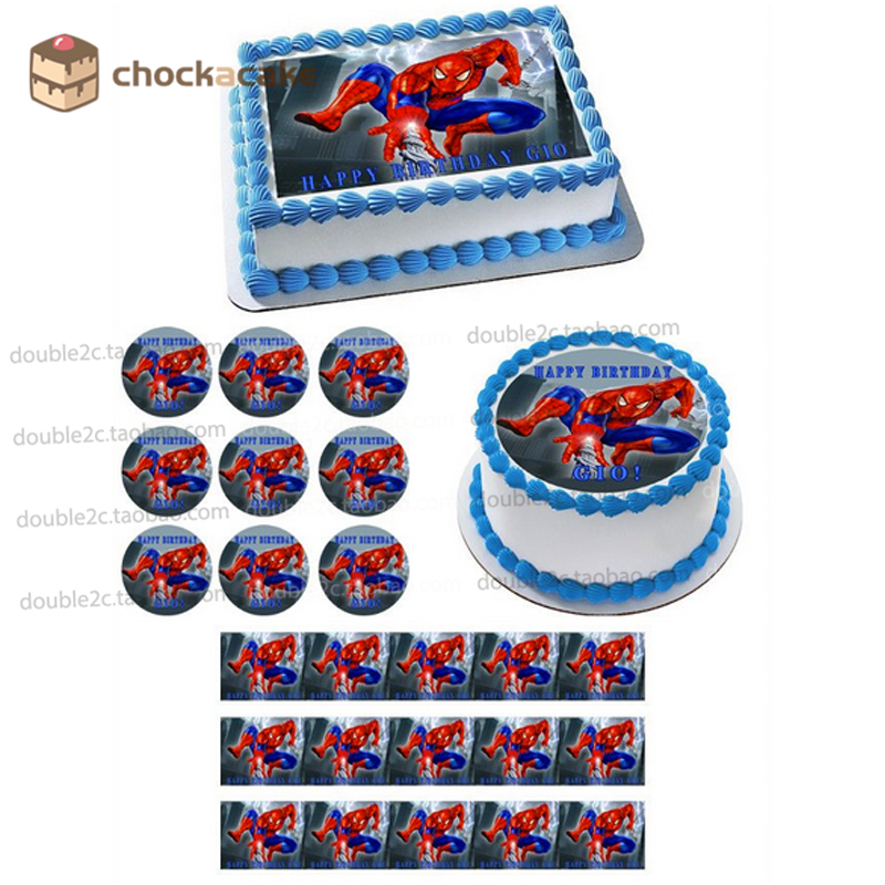 Spider man birthday cake topper for baby boy, Wafer paper for cake topper with name,cartoon edible cake decorating