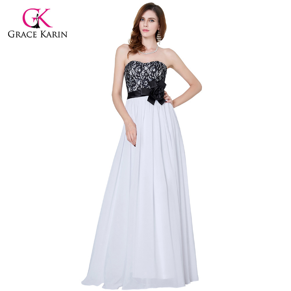 Grace karin evening dresses long black and white wedding for Long elegant dresses for weddings