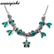 2019 latest gift simple necklace female new pendant fashion silver blue flowers charm retro hot beaded