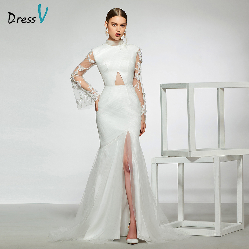 Dressv elegant sample high neck mermaid wedding dress long sleeves hollow lace floor length simple bridal gowns wedding dress