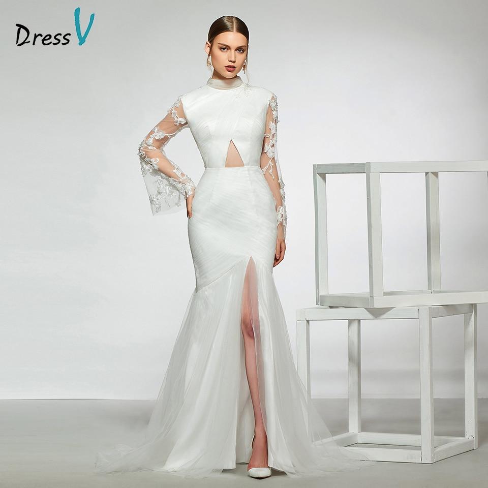 Elegant Simple Long Sleeve Wedding Dresses With Lace 2015: Dressv Elegant Sample High Neck Mermaid Wedding Dress Long