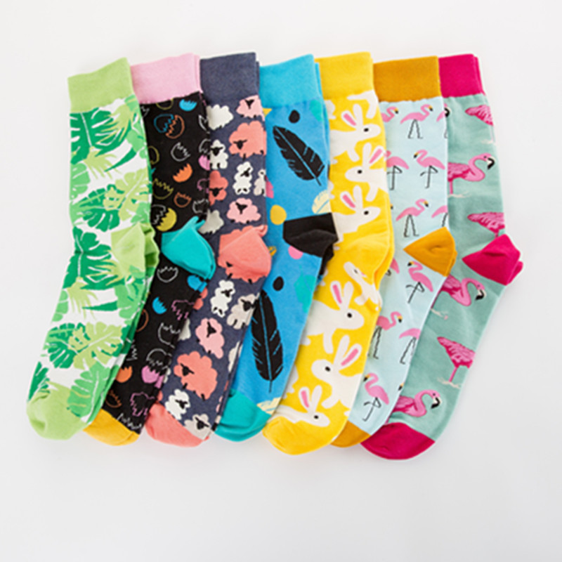 combed Cotton Men Socks Colorful Jacquard Crew Happy Socks Korea Monstera Leaf/ Eggs Funny Socks Smiley dress Chaussettes