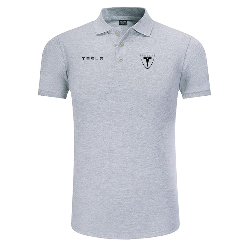 New classic Tesla logo   Polo   shirt men brand-clothing casual solid summer   Polos   cotton