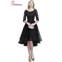 Short Evening Dresses A Line Tulle Lace Appliqued Short Front Long Back Robe De Soiree Kaftan