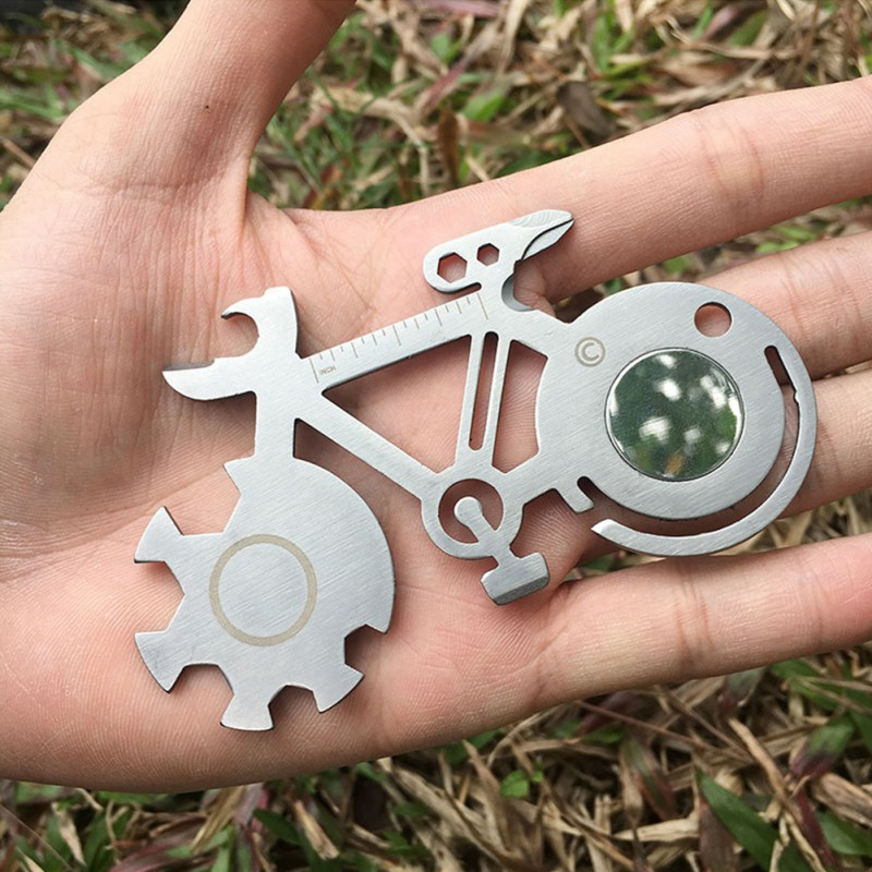 Titanium-Plated Bicycle Shape EDC Multifunction Appearance Wrench Screwdriver Cycling Camping Survival Keychain Outdoor EDC Tool
