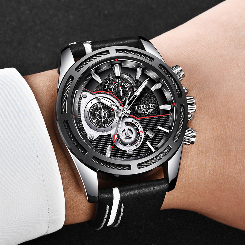2018 Mens Watch Brand LIGE Luxury Jewelry Big Alloy Dial Military Men Black Sports Watches Waterproof Leather Business Watch